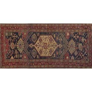 Kazak persian rug geometric design on blue ground early 20th c 96 x 49