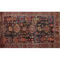 Ferahan sarouk oriental area rug geometric design on navy blue ground early 20th c 86 12 x 56