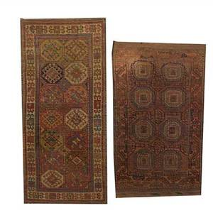 Two persian area rugs caucasian design on beige ground together with bokara design early 20th c larger 92 x 45