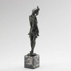 Bruno zach german 18911935 bronze of a woman in flapper attire on marble base 20th c stamped zach 15 without base