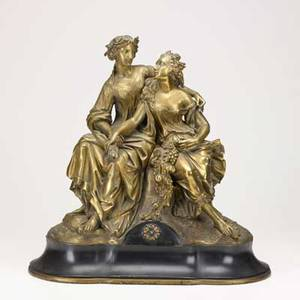 Bronze sculpture depicting two classical female figures early 20th c unsigned 18 12 x 9 x 19