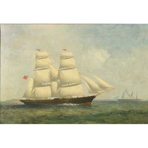 19th c british maritime painting oil on canvas of a schooner with full sails framed 18 x 26