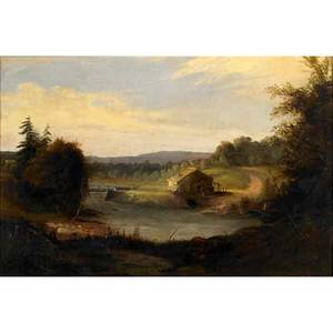 19th c hudson river landscape oil on canvas with cottage bridge and mountains framed 18 x 27