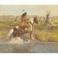 Don ricks american 19291996 oil on canvas of native american rider and pinto in landscape 1978 framed signed and dated 20 x 24
