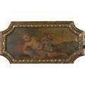 European decorative panel oil on panel of cherub and landscape 19th c carved gilt frame 14 x 32 irregular