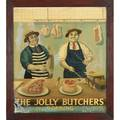 20th c advertising sign oil on tin jolly butchers dorking framed 40 x 36