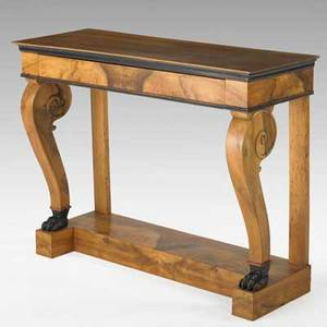 Biedermeier console table exotic veneer one drawer and claw feet 19th c 36 x 46 x 17 14