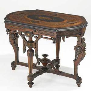 Pottier and stymus attr american bronzemounted center hall table the top inlaid with musical instruments birds and portrait busts 19th c 29 x 40 14 x 27 14