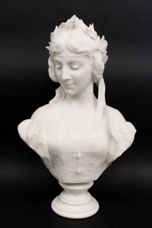 Emilio Fiaschi Marble Bust of a Young Woman