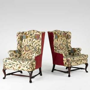 Pair of crewel wing chairs mahogany frame with stretcher base and queen anne legs 20th c 44 x 28 x 32