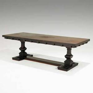Elizabethan style dining table walnut with trestle base early 20th c 28 14 x 90 x 36