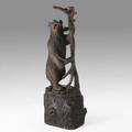 Black forest bear umbrella stand walnut with glass eyes on tree trunk pedestal 19th20th c 57 x 18 12 x 13 12