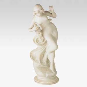A batacchi italian 19th c alabaster statue of a young woman with garland of flowers 19th c signed a batacchi florence 29