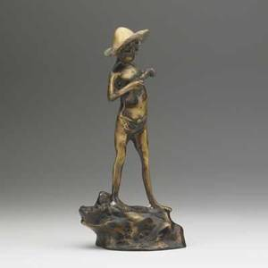 Bronze sculpture depicting a young boy holding a fish 20th c damage to patina at feet 14