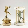 Two art deco figural lamps dancers with polychrome and gilt decoration on marble bases 20th c taller 12 12