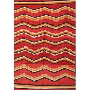 Native american navajo weaving in the eye dazzler pattern 20th c 85 x 52