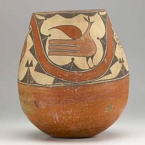 Zia pueblo olla decorated with polychrome birds and geometric designs early 20th c 14 x 12