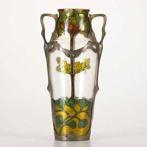 Austrian art nouveau glass vase enamel decoration with white metal mounts 20th c illegibly marked 15 x 7 12 x 6