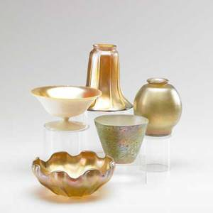 Art glass grouping five items 20th c finger bowl two shades compote and vase one signed lct one signed quezal tallest 6