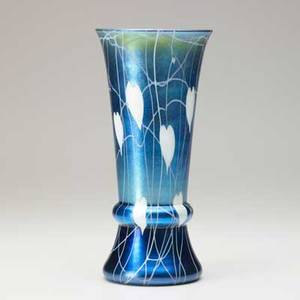 Durand blue iridescent vase with leaf and vine decoration early 20th c signed durand 2015410 10 14