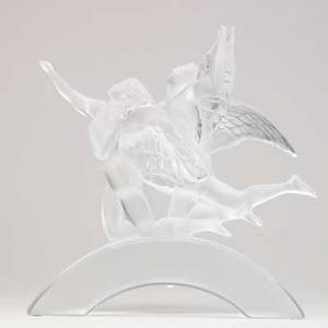 Lalique eden figure in clear and frosted glass 20th c marked lalique france 299 14 12 x 13 14 x 6