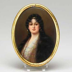 Painting on porcelain depicting a lady oval gilded frame 19th c unmarked 6 34 x 5 18