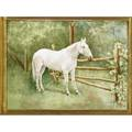 Painting on porcelain depicting a white horse in a field 20th c framed 10 12 x 14 12 sight