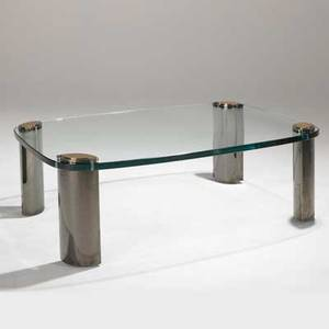 Ron seff coffee table usa 1970s chromed steel brass and glass unmarked 18 34 x 55 x 39