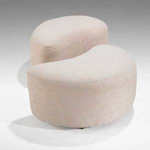 Vladimir kagan weimanpreview pair of ottomans usa 2000s upholstery and wood one fabric label 16 x 29 x 18