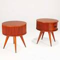 Vladimir kagan kagandreyfuss pair of rotating nightstands with two drawers usa 1950s walnut and brass unmarked 24 x 22 x 22
