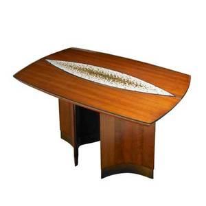 Vladimir kagan kagandreyfuss dining table usa 1950s cherry bronze and murano glass tiles unmarked 29 12 x 54 12 x 34 12