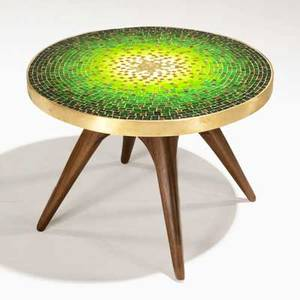 Vladimir kagan kagandreyfuss occasional table usa 1950s venetian glass tiles bronze and sculpted walnut unmarked 17 14 x 24 dia