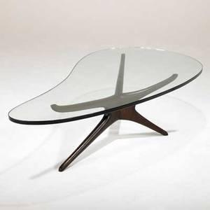 Vladimir kagan emilio pucci trisymmetric coffee table usa 1990s walnut glass unmarked 14 12 x 59 12 x 30