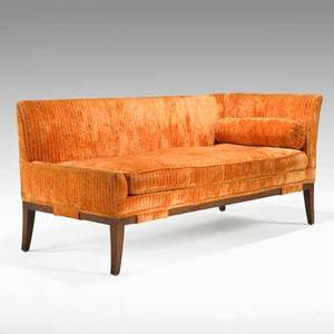 Harvey probber harvey probber inc chaise lounge usa 1950s velvet and mahogany unmarked 29 x 61 x 28