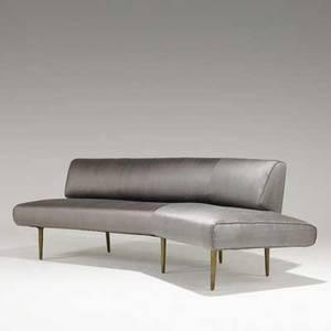 Edward wormley dunbar channelback sofa no 4757 usa ca 1947 brass and silk unmarked 29 x 90 x 45
