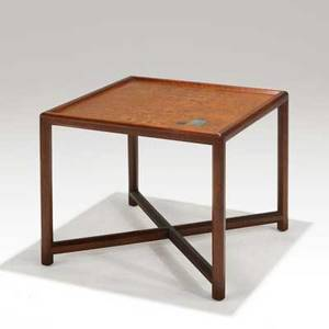 Edward wormley dunbar occasional table no 5631 usa 1956 walnut walnut burl and tiffany glass tiles brass label 19 12 x 24 sq