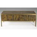 Bernhardt rohne mastercraft cabinet 1960s acid etched polychrome and patinated bronze unmarked 30 x 78 x 21