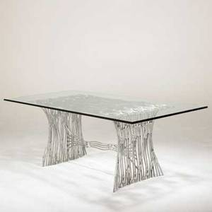 Arthur court arthur court designs inc dining table usa 1975 cast welded and polished aluminum 34 plate glass unmarked 30 x 83 12 x 40