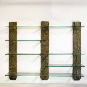 Paul evans directional sculpted bronze wall unit usa 1968 bronze composite and glass signed and dated 77 12 x 96 x 17 12