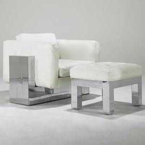 Paul evans directional cityscape lounge chair and ottoman usa 1970s chromed steel vinyl unmarked chair 30 x 40 x 38 ottoman 17 12 x 24 12 x 19 12