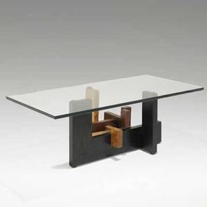 Jeffrey greene solid state coffee table usa 1980s ebonized ash flame birch black walnut and plate glass 17 x 48 x 24