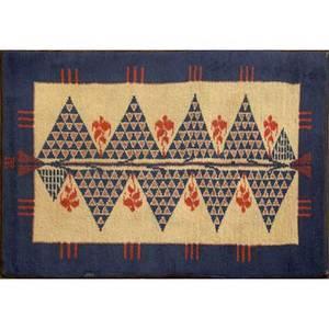 Ivan da silva bruhn wool tapestry or rug geometric 1920s woven cipher 48 x 74