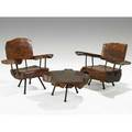 Sabena chairs and table suite mexico 1950s walnut iron brass unmarked chairs 33 x 31 x 25 30 x 36 12 x 24 table 14 x 29
