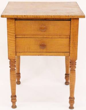 Mid 19th C Tiger Maple Two Drawer Stand