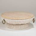 French coffee table 1970s woven fiber brass travertine unmarked 13 x 38
