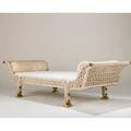 French daybed 1970s woven fiber linen brass plated metal unmarked 27 x 99 x 41