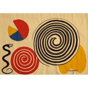 After alexander calder ateliers pinton wool tapestry 1975 two cloth labels woven calder ap and numbered 32 of 200 with copyright 41 12 x 50