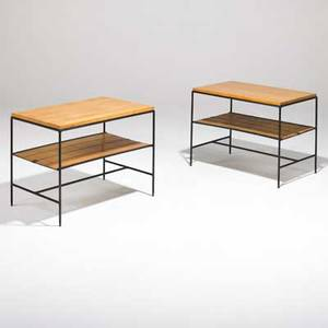 Paul mccobb winchendon pair of planner group lamp tables no 1574 1950s maple enameled steel and woven bamboo slats unmarked 21 14 x 28 x 18
