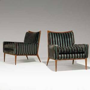 Paul mccobb directional pair of club chairs no 1322 usa 1950s mahogany and velvet unmarked each 33 x 30 x 32
