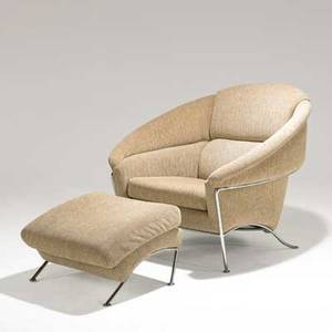 Milo baughman thayer coggin lounge chair and ottoman usa 1980s chromed steel and wool fabric label chair 36 x 41 x 41 ottoman 16 x 23 12 x 22
